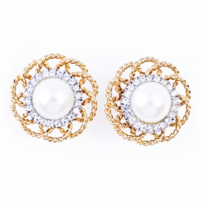 Gold, Pearl and Rhinestone Earrings