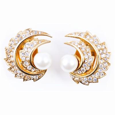 Gold, Pearl and Rhinestone Earrings