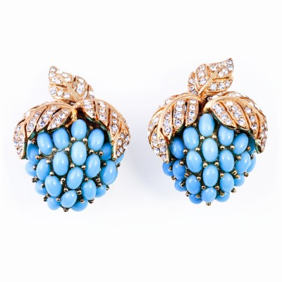 Gold, Rhinestone and Turquoise Earrings