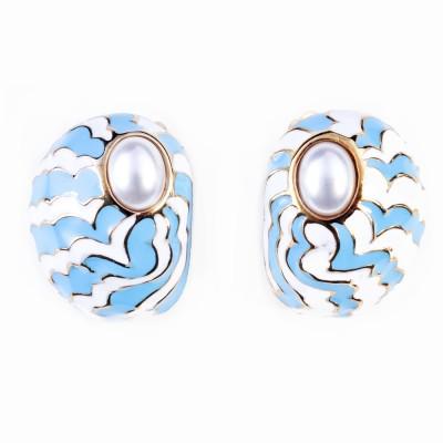 Gold, Pearl and Enamel Earrings