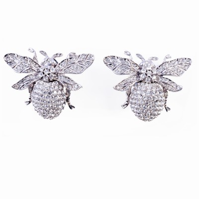 Silver and Rhinestone Earrings