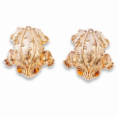 Gold Frog Earrings