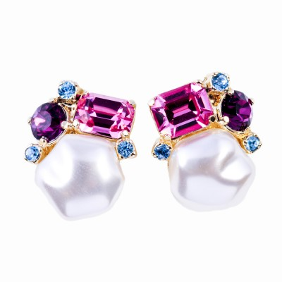 Baroque Pearl, Crystal and Gold Earrings