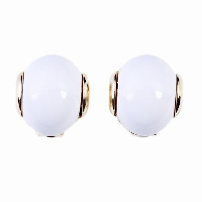 White Resin and Gold Earrings