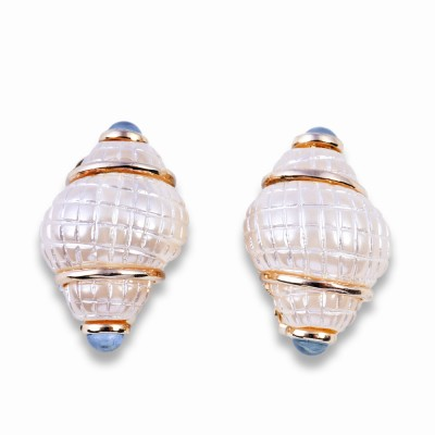 Gold and Pearl Shell Earrings