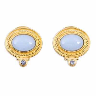 Aqua Resin and Gold Earrings