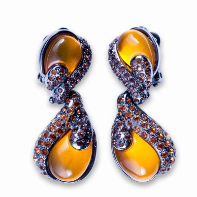 Resin and Rhinestone Earrings