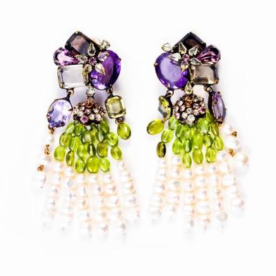 Amethyst, Peridot, Smoky Quartz, Fresh Water Pearl Earrings