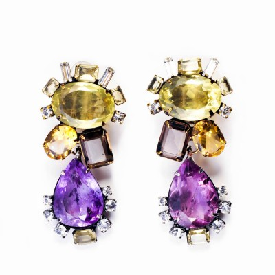Semi-Precious, Amethyst, Citrine & Smoky Quartz Drop Earrings