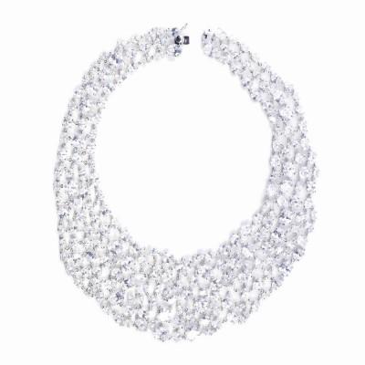 CZ (Cubic Zirconia) and Silver Bib Necklace