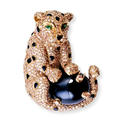 Leopard Brooch with CZ (Cubic Zirconia), Black Agate and Emerald