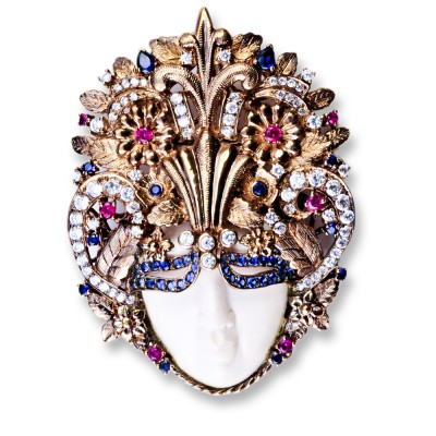Crowned Face Brooch