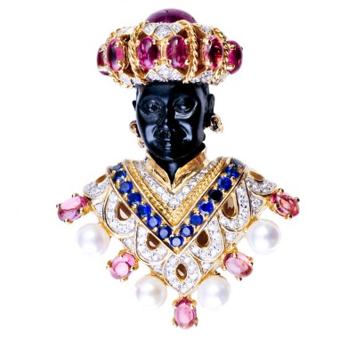 Blackamoor Brooch with Semi-Precious Stones