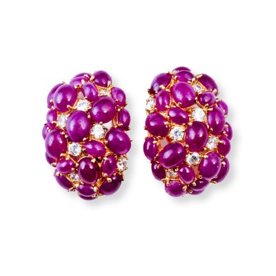 Gold, Semi-Precious, Ruby, CZ (Cubic Zirconia) Earrings