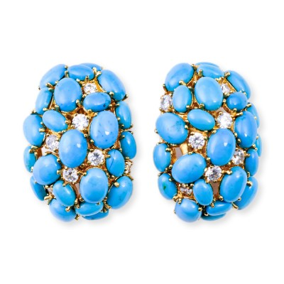 Turquoise and CZ (Cubic Zirconia) Semi-Precious Earrings