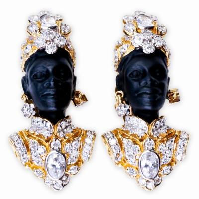 Blackamoor CZ (Cubic Zirconia) and Rhinestone Earrings