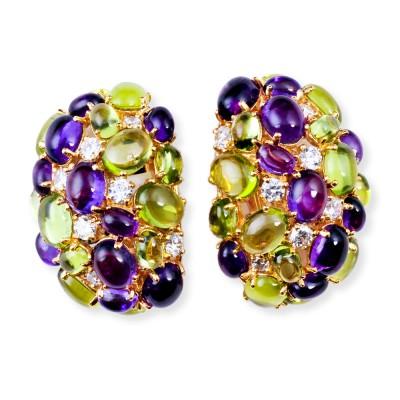 Gold, Semi-Precious, Peridot, Amethyst and CZ (Cubic Zirconia) Earrings