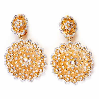 Gold Filigree and CZ (Cubic Zirconia) Earrings