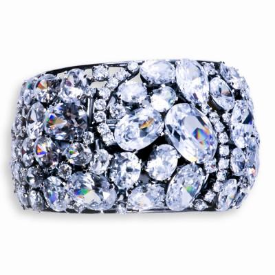 Silver, Semi-Precious, Moonstone and CZ (Cubic Zirconia) Bracelet