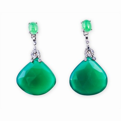 Jade and Rhinestone Earrings