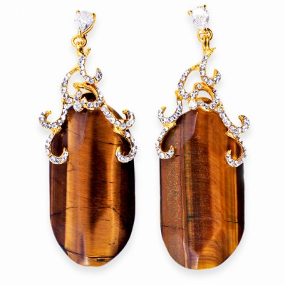 Gold, Tiger's Eye and Rhinestone Earrings