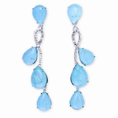 Silver, Turquoise and Rhinestone Drop Earrings