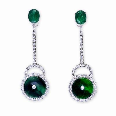 Silver, Emerald and Rhinestone Drop Earrings