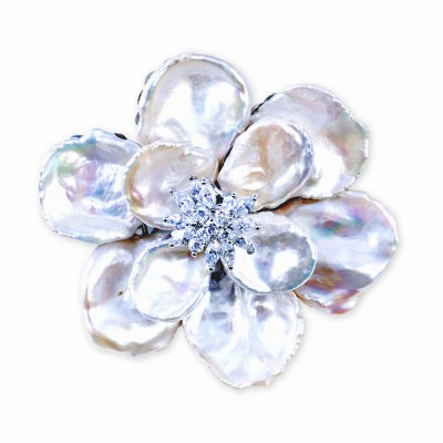 Fresh Water Pearl and CZ (Cubic Zirconia) Flower Pin