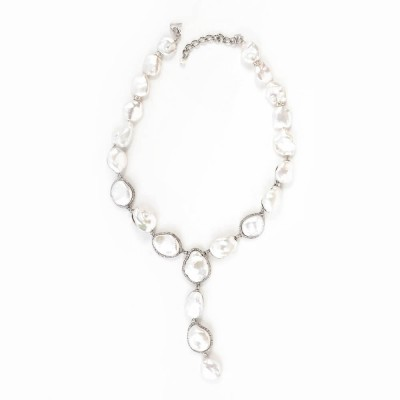 Fresh Water Pearl and CZ (Cubic Zirconia) Y Necklace