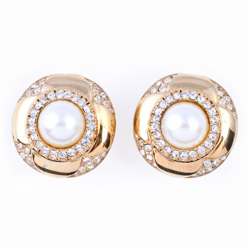 Gold and Rhinestone Earrings