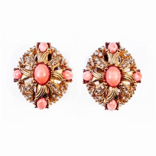 Gold, Rhinestone and Coral Earrings