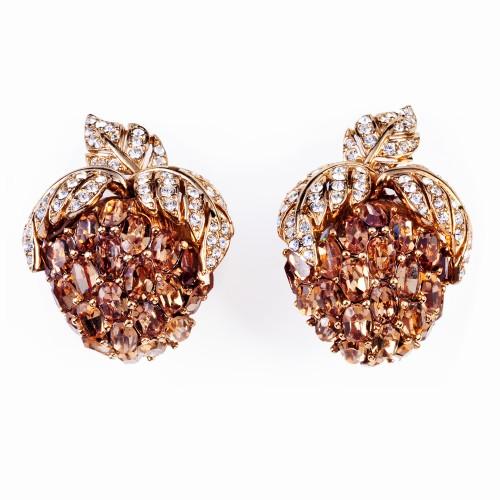 Gold, Rhinestone and Topaz Earrings