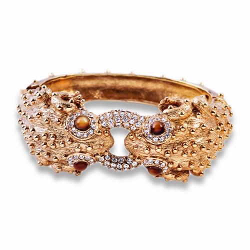 Gold and Rhinestone Frog Bracelet