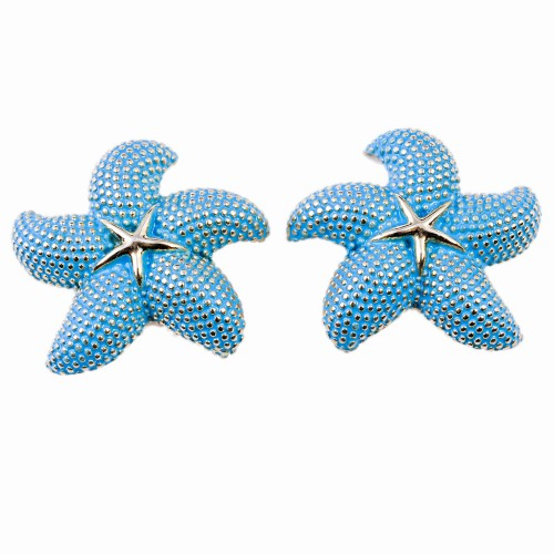 Gold and Enamel Starfish Earrings