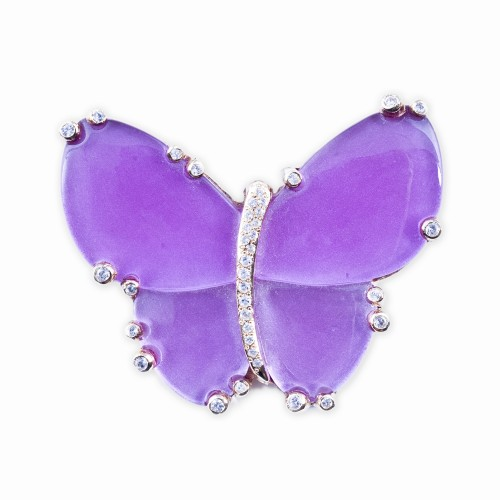 Resin and Crystal Butterfly Brooch