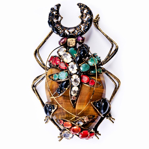 Bug Brooch with Semi-Precious Stones