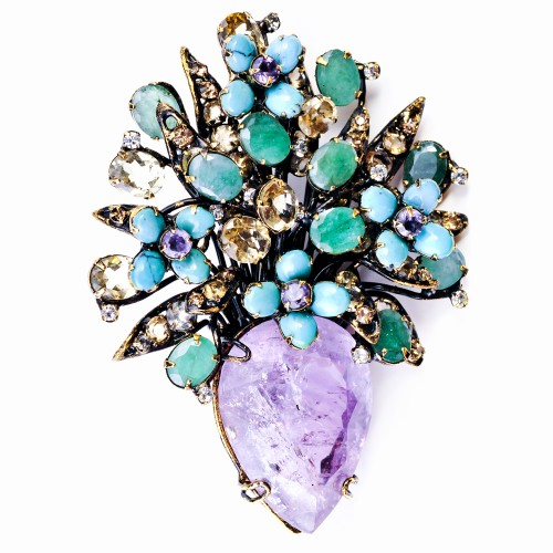 Amethyst, Citrine and Turquoise Brooch