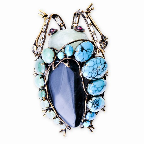 Bug Brooch in Semi-Precious Stones