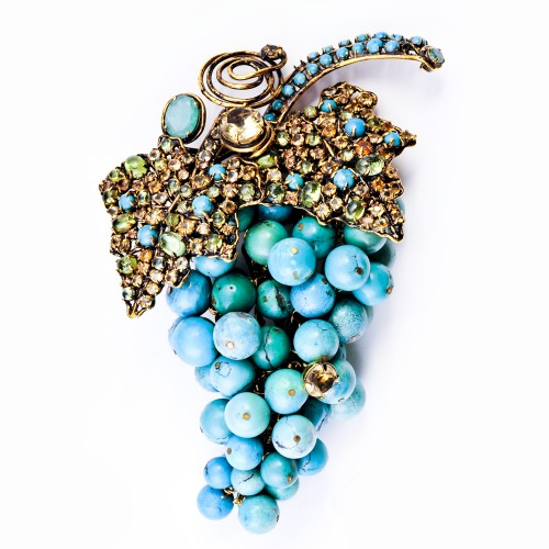 Cluster of Grapes Brooch with Semi-Precious Stones