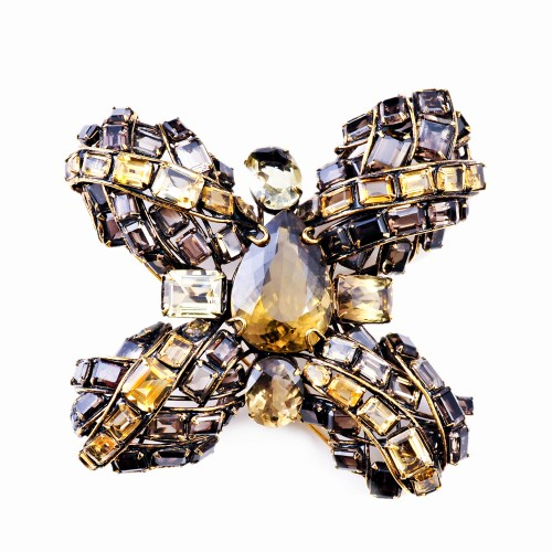 Maltese Cross Brooch in Semi-Precious Stones