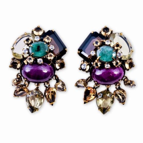 Citrine Ruby and Amethyst Earrings
