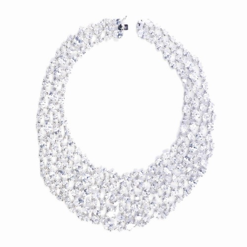 CZ (Cubic Zirconia) and Silver Bib Necklace