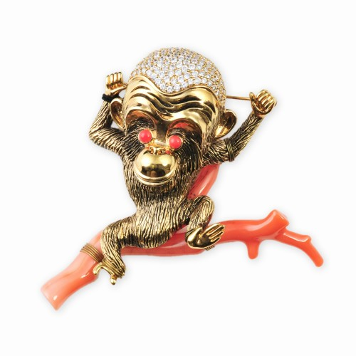 Gold and CZ (Cubic Zirconia) Monkey Brooch