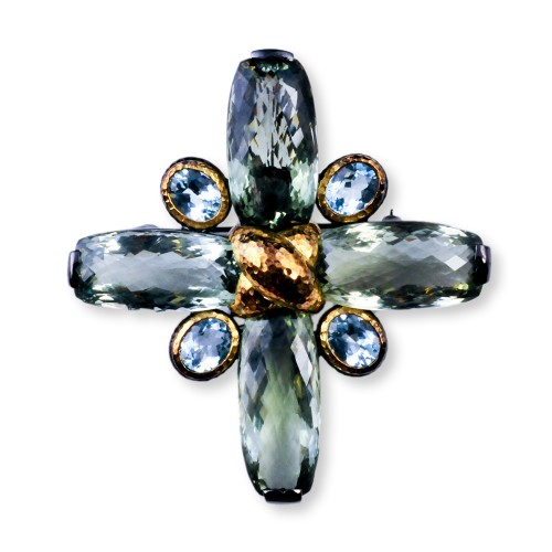 Maltese Cross Brooch with Blue Topaz