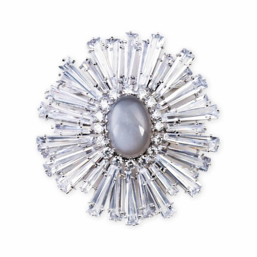 Sunburst Brooch with Semi-Precious Stones