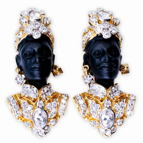 Blackamoor CZ (Cubic Zirconia) and Rhinestone Earrings