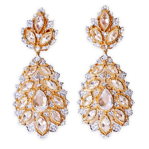 Gold and CZ (Cubic Zirconia) Drop Earrings