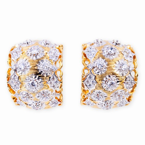 Gold and CZ (Cubic Zirconia) Clip Earrings