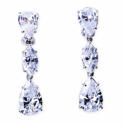 Silver and CZ (Cubic Zirconia) Three Stone Drop Earrings