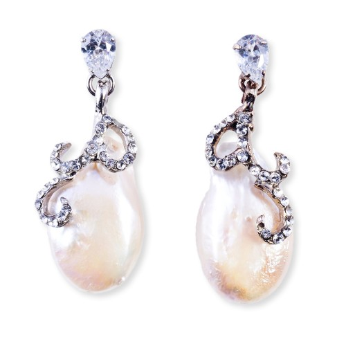 CZ (Cubic Zirconia) Swirl and Fresh Water Pearl Earrings